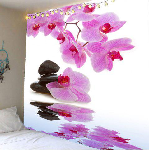 Hot Wall Hanging Pond Floral Printed Tapestry - W79 INCH * L59 INCH LIGHT PINK Mobile