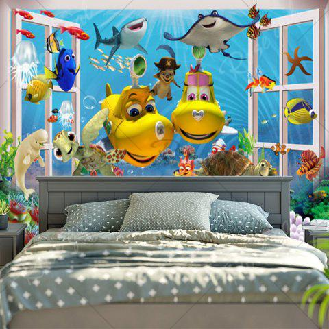 Trendy Sea World Animal Print Wall Tapestry - W59 INCH * L51 INCH BLUE Mobile