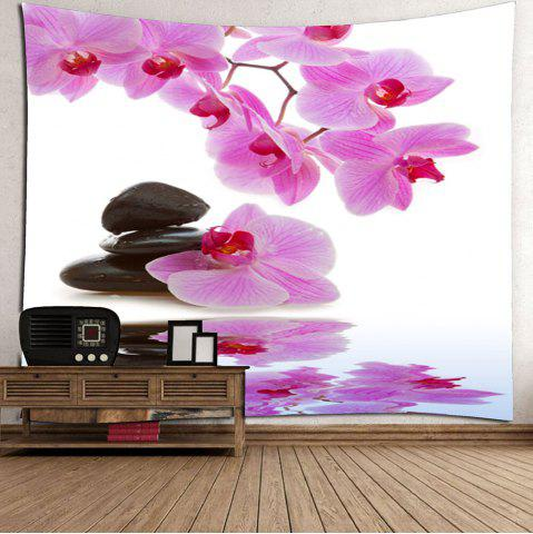 Unique Wall Hanging Pond Floral Printed Tapestry - W79 INCH * L71 INCH LIGHT PINK Mobile