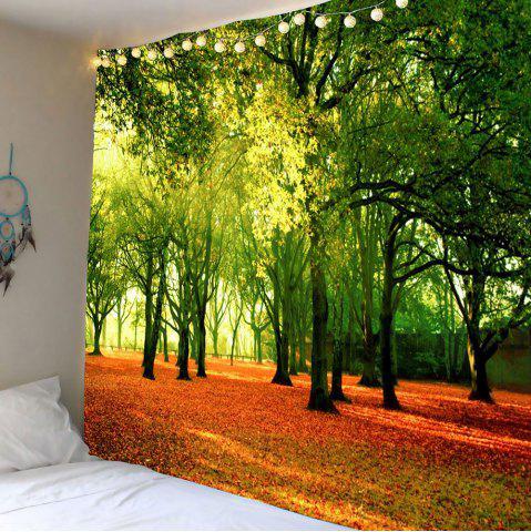 Hanging Fallen Leaves Trees Décoration murale Tapisserie Vert W79 INCH * L71 INCH