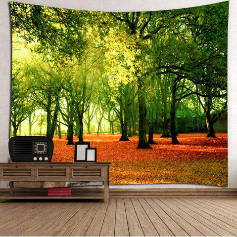 Affordable Hanging Fallen Leaves Trees Wall Decor Tapestry - W79 INCH * L71 INCH GREEN Mobile