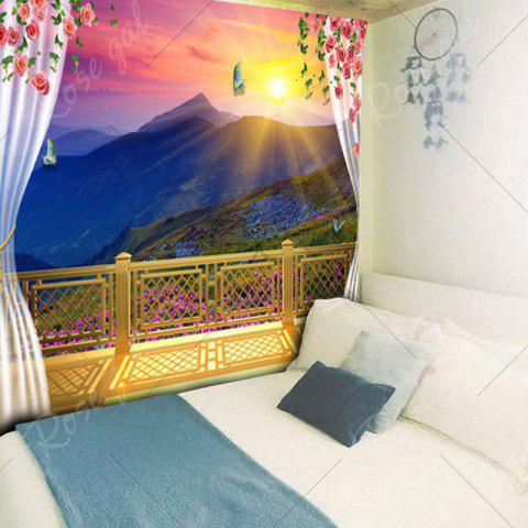 Sale Balcony Valley Print Wall Decor Tapestry - W59 INCH * L51 INCH COLORFUL Mobile