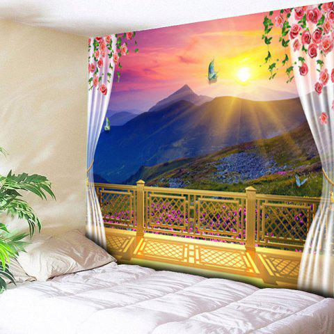 Online Balcony Valley Print Wall Decor Tapestry - W59 INCH * L59 INCH COLORFUL Mobile
