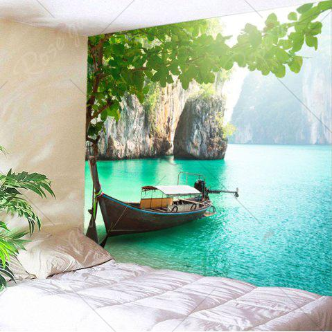 Shops Home Decor Mountains Boat Lake Wall Tapestry - W79 INCH * L71 INCH GREEN Mobile