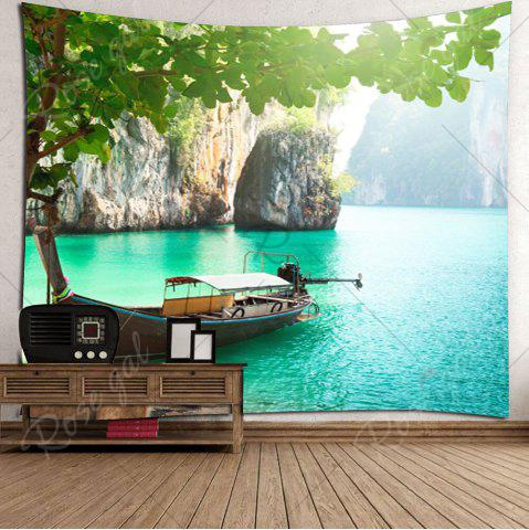 Sale Home Decor Mountains Boat Lake Wall Tapestry - W79 INCH * L71 INCH GREEN Mobile