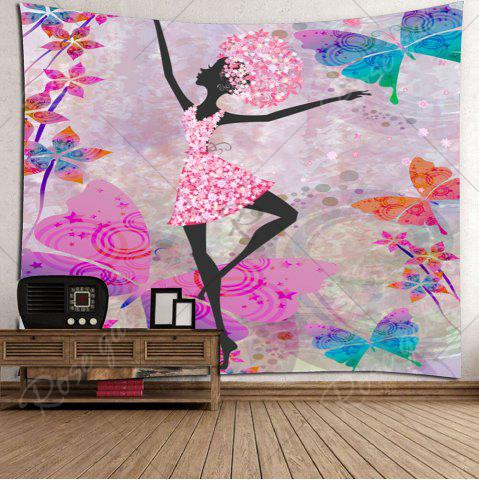 Latest Butterflies Dancing Girl Wall Decor Tapestry - W59 INCH * L51 INCH COLORFUL Mobile