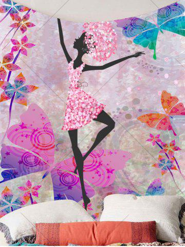 Affordable Butterflies Dancing Girl Wall Decor Tapestry - W59 INCH * L51 INCH COLORFUL Mobile