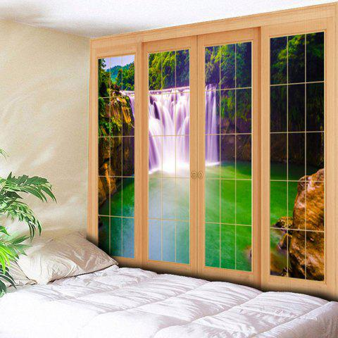 Chic Window Waterfall Print Wall Art Tapestry - W79 INCH * L59 INCH GREEN Mobile