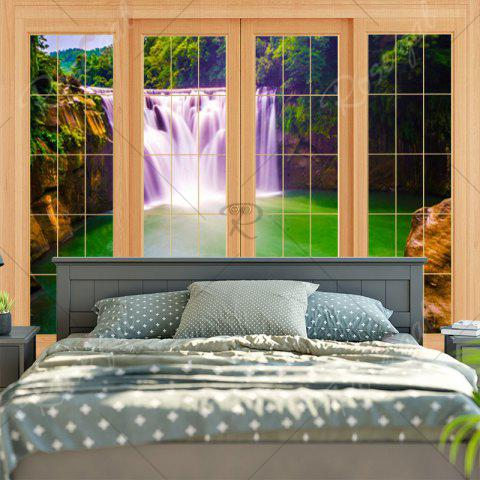 Affordable Window Waterfall Print Wall Art Tapestry - W79 INCH * L59 INCH GREEN Mobile