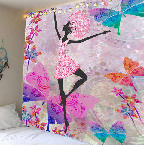 Latest Butterflies Dancing Girl Wall Decor Tapestry - W59 INCH * L59 INCH COLORFUL Mobile