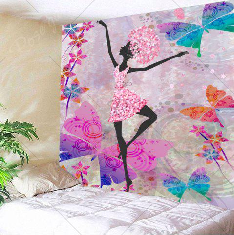 Fashion Butterflies Dancing Girl Wall Decor Tapestry - W79 INCH * L59 INCH COLORFUL Mobile