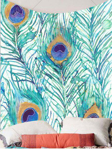 Hot Home Decor Peacock Feathers Pattern Wall Tapestry - W59 INCH * L51 INCH LIGHT GREEN Mobile
