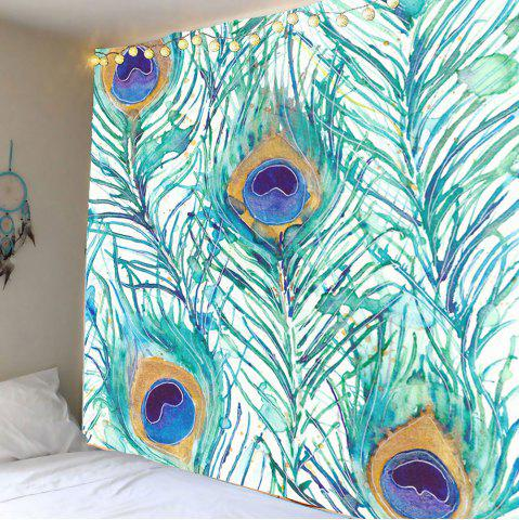 Discount Home Decor Peacock Feathers Pattern Wall Tapestry - W59 INCH * L51 INCH LIGHT GREEN Mobile
