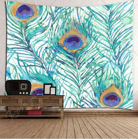 Buy Home Decor Peacock Feathers Pattern Wall Tapestry - W59 INCH * L51 INCH LIGHT GREEN Mobile
