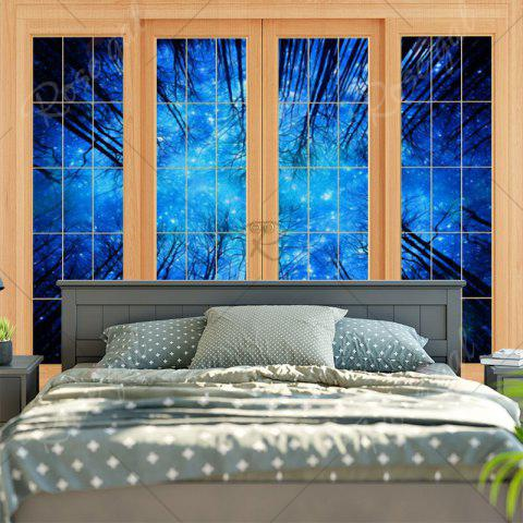 Cheap Bedroom Decor Window Forest Print Tapestry - W59 INCH * L59 INCH BLUE Mobile