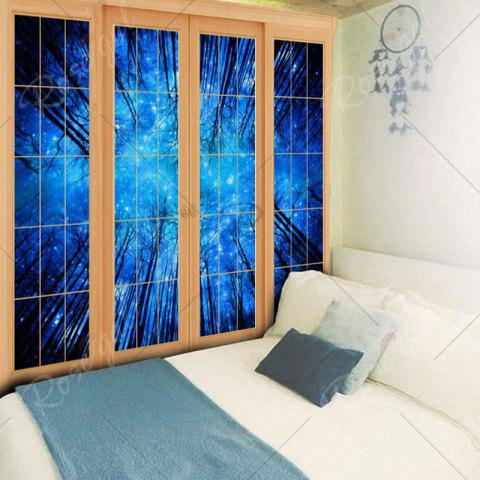 Online Bedroom Decor Window Forest Print Tapestry - W79 INCH * L59 INCH BLUE Mobile