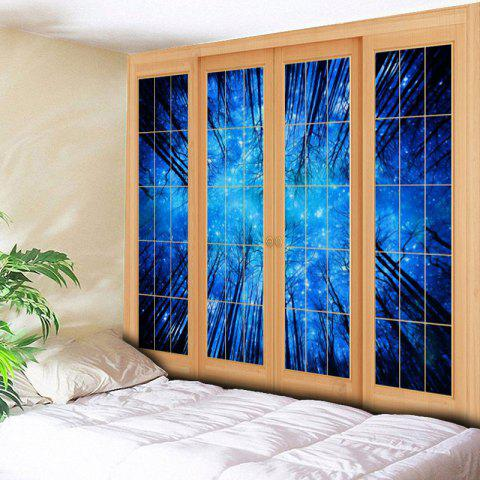 Cheap Bedroom Decor Window Forest Print Tapestry - W79 INCH * L59 INCH BLUE Mobile