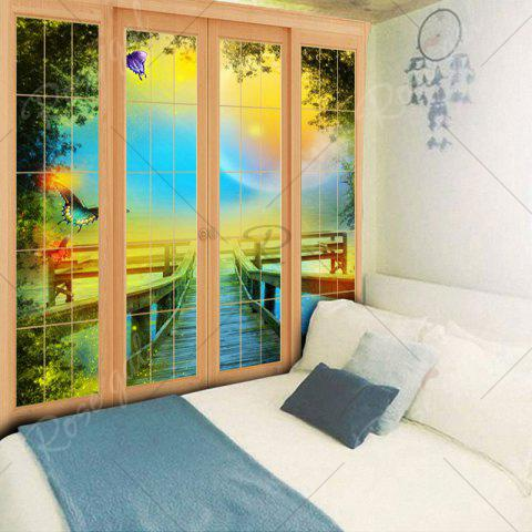 Online Window Scenery Wall Art Bedroom Tapestry - W59 INCH * L51 INCH YELLOW Mobile