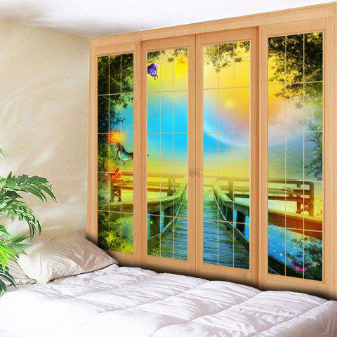 Online Window Scenery Wall Art Bedroom Tapestry - W59 INCH * L59 INCH YELLOW Mobile