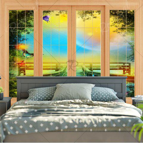 Unique Window Scenery Wall Art Bedroom Tapestry - W79 INCH * L59 INCH YELLOW Mobile