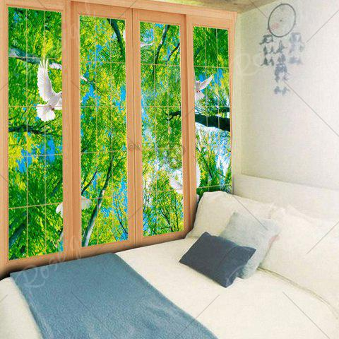 Cheap Wall Decor Window Scenery Pattern Tapestry - W79 INCH * L59 INCH GREEN Mobile