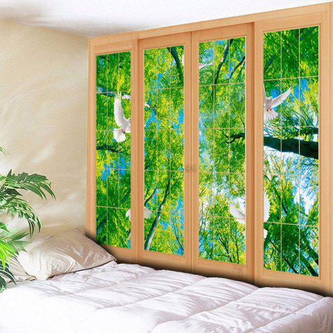 Fashion Wall Decor Window Scenery Pattern Tapestry - W79 INCH * L59 INCH GREEN Mobile