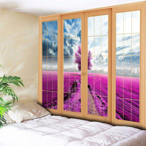 Fancy Wall Hanging Window Scenery Printed Tapestry - W79 INCH * L59 INCH PURPLISH RED Mobile