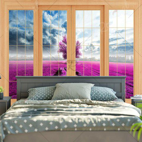 Shop Wall Hanging Window Scenery Printed Tapestry - W79 INCH * L59 INCH PURPLISH RED Mobile