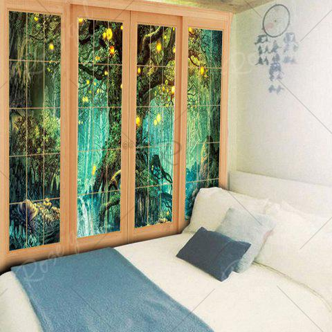 Best Window Tree Print Wall Hanging Tapestry - W79 INCH * L59 INCH GREEN Mobile