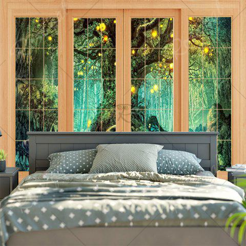 Shops Window Tree Print Wall Hanging Tapestry - W79 INCH * L59 INCH GREEN Mobile