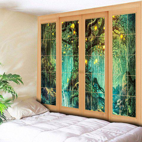 Hot Window Tree Print Wall Hanging Tapestry - W79 INCH * L59 INCH GREEN Mobile