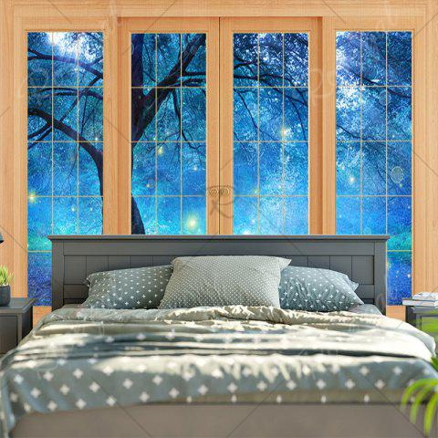 Store Bedroom Decor Window Life Tree Print Tapestry - W79 INCH * L59 INCH BLUE Mobile