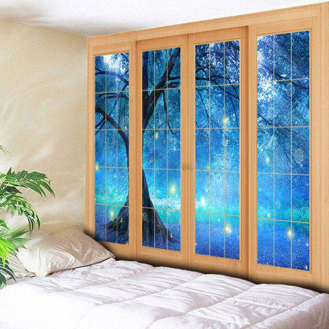 Affordable Bedroom Decor Window Life Tree Print Tapestry - W79 INCH * L59 INCH BLUE Mobile