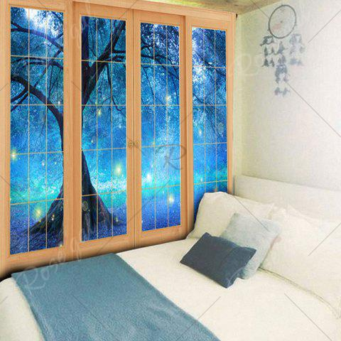 New Bedroom Decor Window Life Tree Print Tapestry - W79 INCH * L59 INCH BLUE Mobile