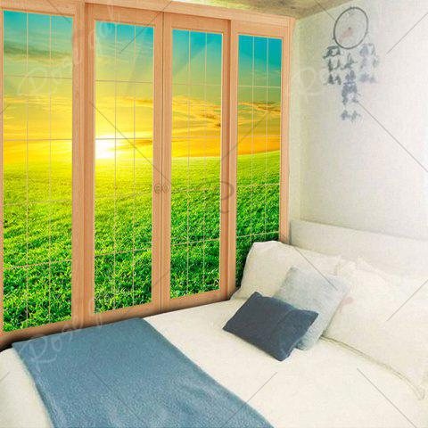 Hot Wall Hanging Window Grassland Print Tapestry - W59 INCH * L59 INCH GREEN Mobile