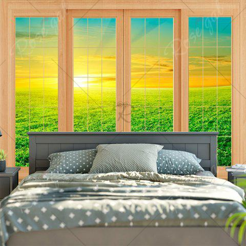 Hot Wall Hanging Window Grassland Print Tapestry - W79 INCH * L59 INCH GREEN Mobile