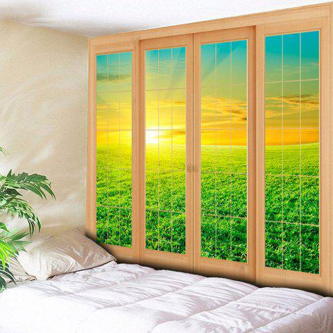 Buy Wall Hanging Window Grassland Print Tapestry - W79 INCH * L59 INCH GREEN Mobile