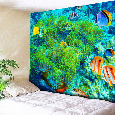 Hot Sea World Print Wall Hanging Bedroom Tapestry - W59 INCH * L51 INCH GREEN Mobile