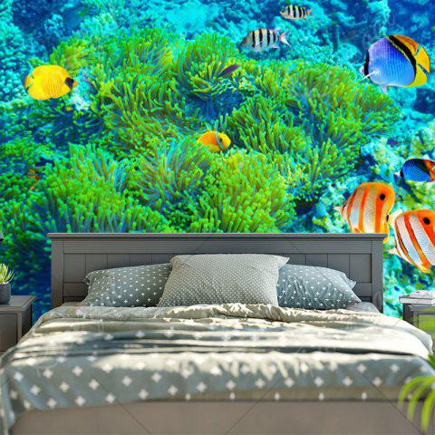 Affordable Sea World Print Wall Hanging Bedroom Tapestry - W59 INCH * L59 INCH GREEN Mobile