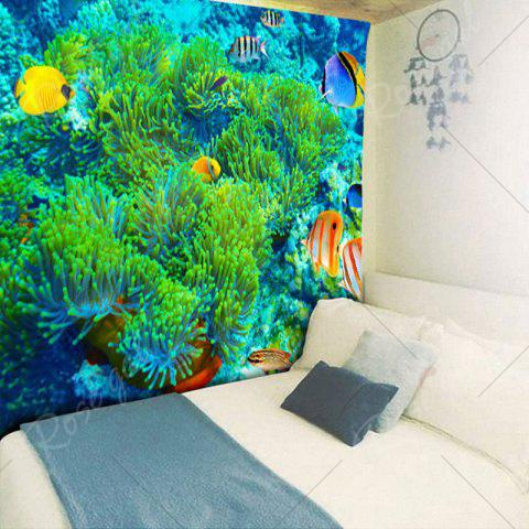 Latest Sea World Print Wall Hanging Bedroom Tapestry - W59 INCH * L59 INCH GREEN Mobile