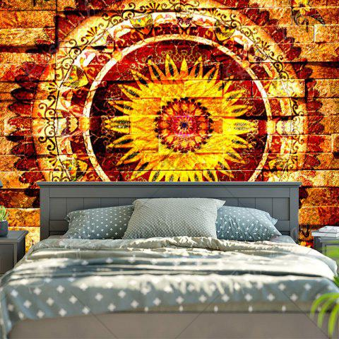 Trendy Mandala Brick Wall Pattern Bedroom Tapestry - W59 INCH * L51 INCH YELLOW Mobile
