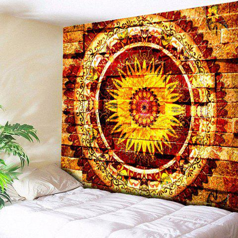 Affordable Mandala Brick Wall Pattern Bedroom Tapestry - W59 INCH * L51 INCH YELLOW Mobile