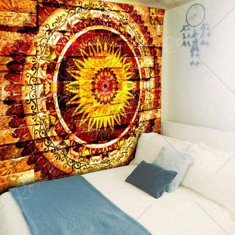 Trendy Mandala Brick Wall Pattern Bedroom Tapestry - W59 INCH * L59 INCH YELLOW Mobile