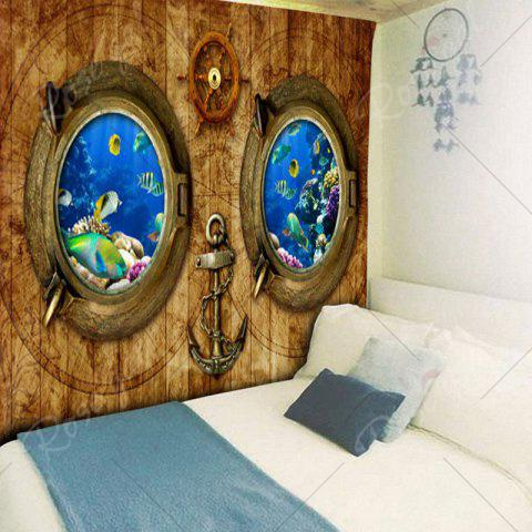 Outfit Submarine Wood Grain Wall Art Tapestry - W59 INCH * L51 INCH WOOD COLOR Mobile