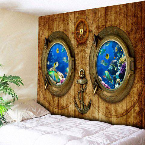 Outfit Submarine Wood Grain Wall Art Tapestry - W59 INCH * L59 INCH WOOD COLOR Mobile