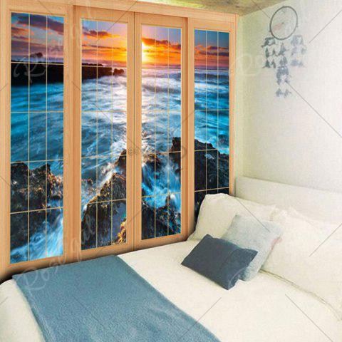 Affordable Wall Hanging Window Sea Printed Tapestry - W59 INCH * L51 INCH BLUE Mobile