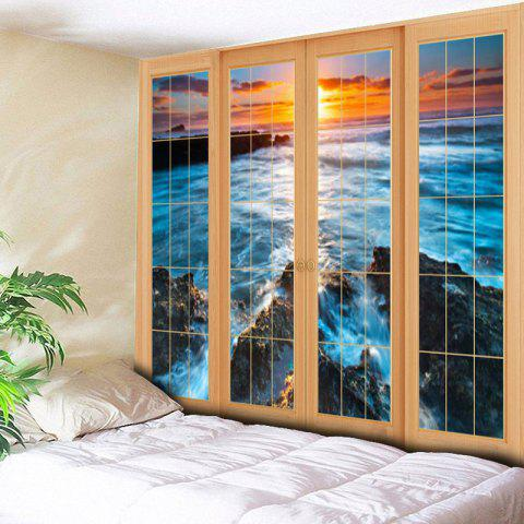 Affordable Wall Hanging Window Sea Printed Tapestry - W59 INCH * L59 INCH BLUE Mobile