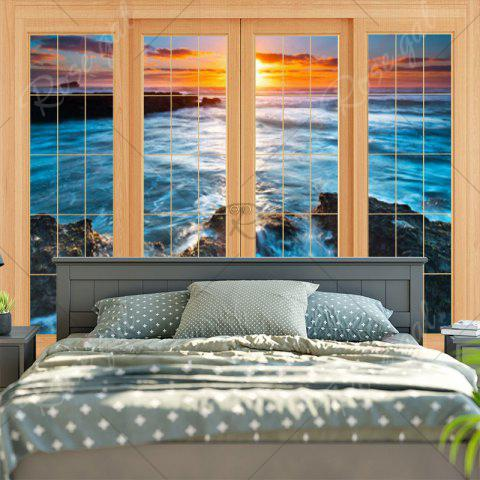 Trendy Wall Hanging Window Sea Printed Tapestry - W59 INCH * L59 INCH BLUE Mobile