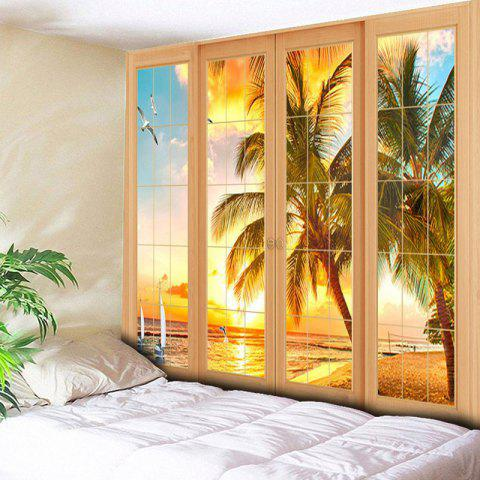 Trendy Wall Art Window Coconut Tree Print Tapestry - W59 INCH * L51 INCH YELLOW Mobile
