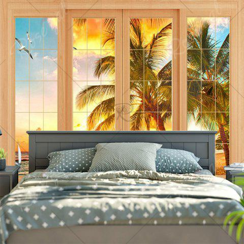 Discount Wall Art Window Coconut Tree Print Tapestry - W79 INCH * L59 INCH YELLOW Mobile
